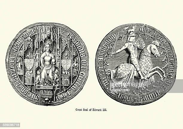 ilustrações, clipart, desenhos animados e ícones de ótima vedação do rei eduardo iii da inglaterra - great seal