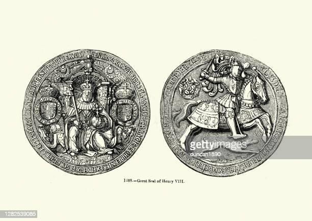 großes siegel von könig heinrich viii., thron, ritter, hund - britisches königshaus stock-grafiken, -clipart, -cartoons und -symbole
