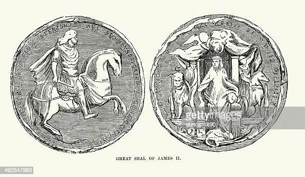 ilustrações, clipart, desenhos animados e ícones de grande colônia do rei james ii - great seal