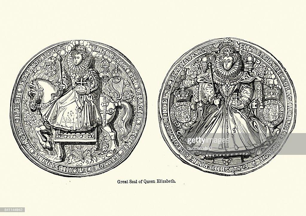 Great Seal of Queen Elizabeth I : stock illustration