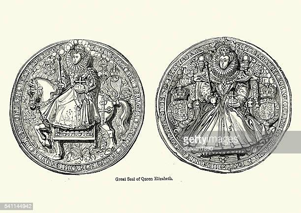 great seal of queen elizabeth i - great seal stock illustrations, clip art, cartoons, & icons