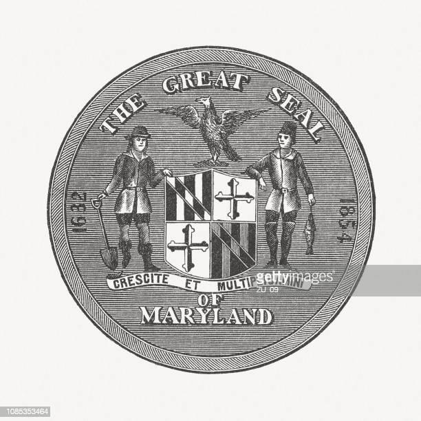 illustrazioni stock, clip art, cartoni animati e icone di tendenza di great seal of the state of maryland, incisione su legno, pubblicato nel 1886 - maryland stato