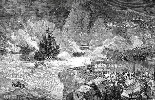 great siege of gibraltar - american revolution stock illustrations, clip art, cartoons, & icons