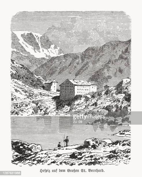 グレートセントバーナードホスピス、スイス、木彫り、1893年に出版 - ホスピス点のイラスト素材/クリップアート素材/マンガ素材/アイコン素材