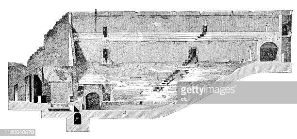 great theater, pompeii - epidaurus stock illustrations