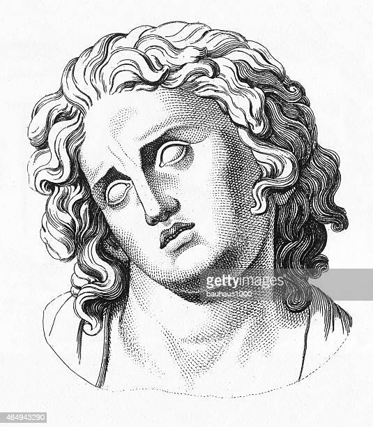 grecian bust engraving - greek culture stock illustrations, clip art, cartoons, & icons