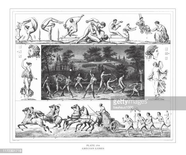 grecian games engraving antique illustration, published 1851 - naughty america stock illustrations, clip art, cartoons, & icons
