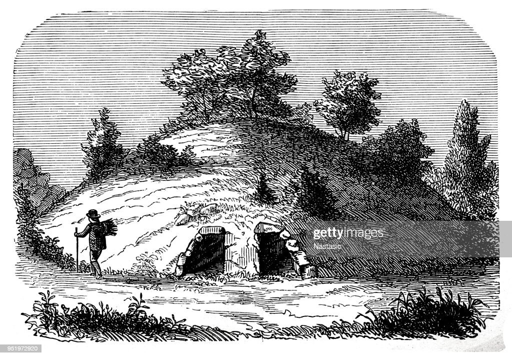 Grecian tomb constructed by the Greeks : stock illustration