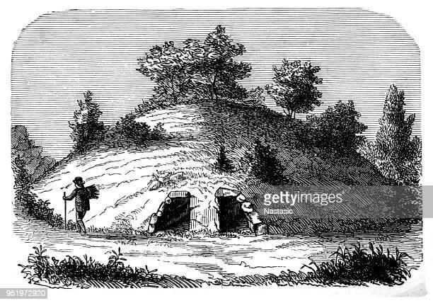 ilustrações de stock, clip art, desenhos animados e ícones de grecian tomb constructed by the greeks - megalith