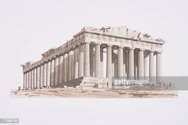 ilustrações, clipart, desenhos animados e ícones de greece, athens, the acropolis or parthenon. - partenão acrópole