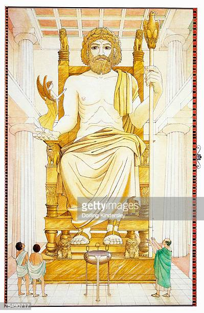 greece, third wonder, seated statue of greek god zeus, located in ancient town of olympia - ancient olympia greece stock illustrations, clip art, cartoons, & icons