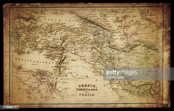 greece, turkey and persia map - ancient stock illustrations