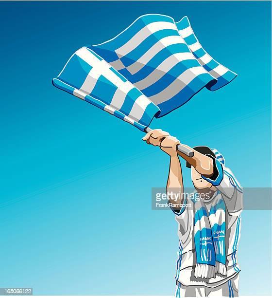 Griechenland winken Flagge Fußball-Fan