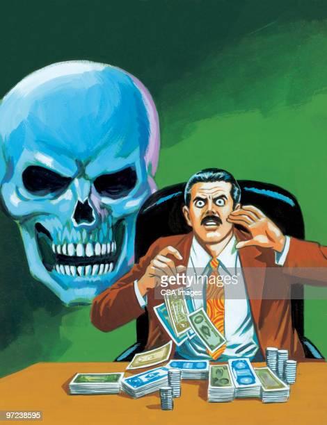 Greedy Man With Blue Skull