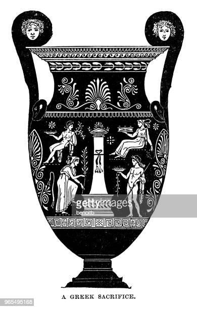 greek amphora - urn stock illustrations