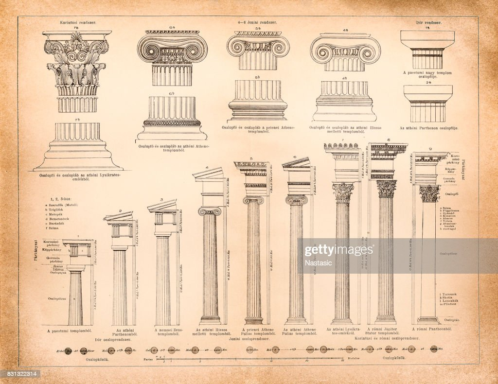 Greek and Roman column systems : stock illustration