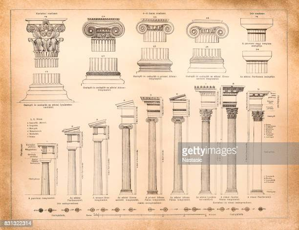greek and roman column systems - classical greek style stock illustrations