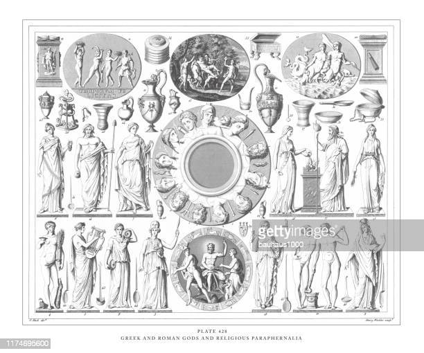 illustrations, cliparts, dessins animés et icônes de greek and roman gods and religious paraphernalia engraving antique illustration, publié en 1851 - zeus
