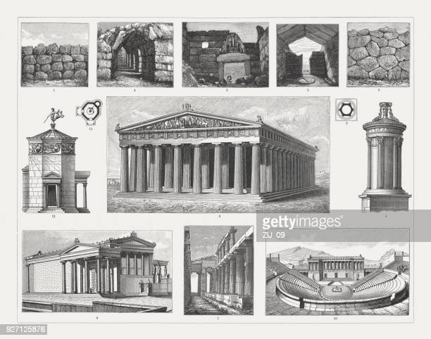 greek architecture, wood emngravings, published in 1897 - ancient greece stock illustrations, clip art, cartoons, & icons