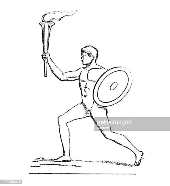 greek athlete holding torch - olympic games - antiquity - racewalking stock illustrations, clip art, cartoons, & icons