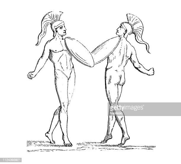 greek athletes - olympic games - antiquity - racewalking stock illustrations, clip art, cartoons, & icons