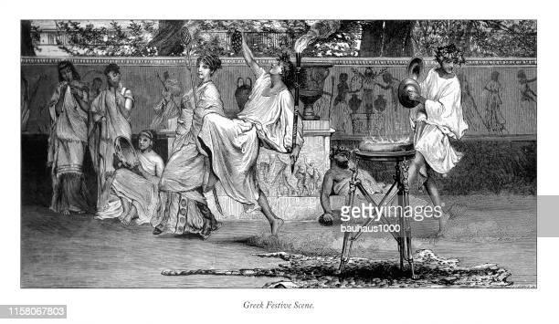 greek festive scene, english victorian engraving, 1875 - classical greek style stock illustrations