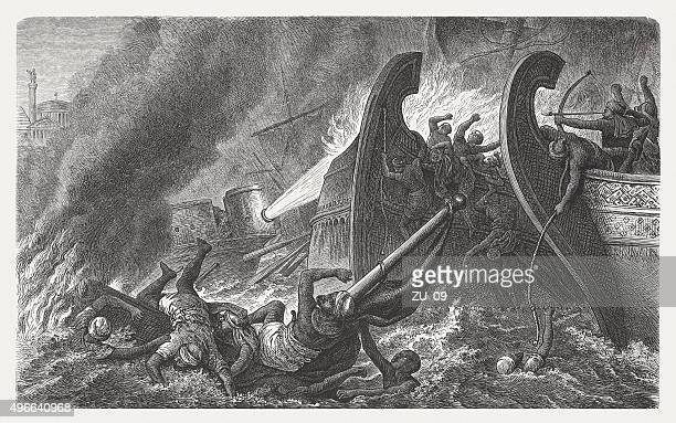 greek fire against the arabs in constantinople, 7th cebntury - arabian horse stock illustrations, clip art, cartoons, & icons