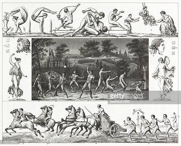 greek games - greek culture stock illustrations, clip art, cartoons, & icons