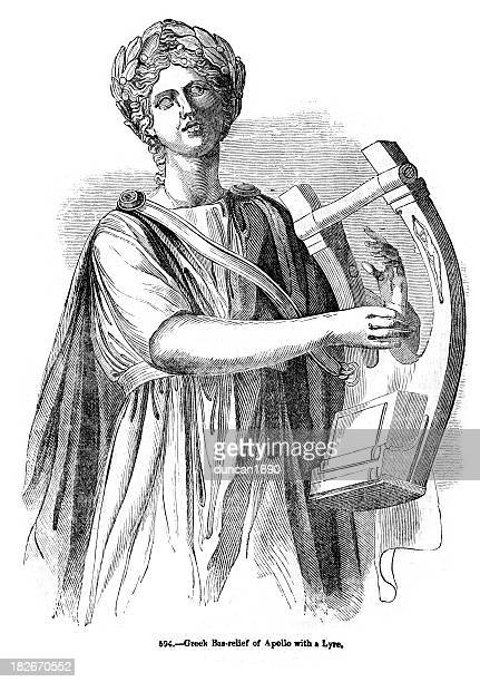 greek god apollo playing a lyre - greek gods stock illustrations, clip art, cartoons, & icons