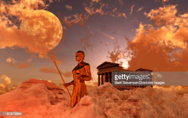 a greek god guarding a temple on top of mount olympus. - greek mythology stock illustrations