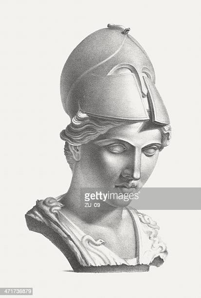 greek goddess athena (roman: minerva), published c. 1830 - greek mythology stock illustrations