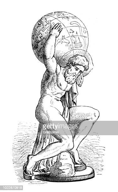 greek goddess atlas holding the globe - greece stock illustrations