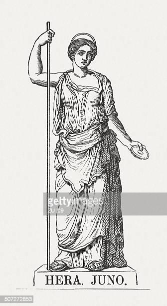 bildbanksillustrationer, clip art samt tecknat material och ikoner med greek goddess hera (roman: juno), wood engraving, published in 1878 - grekisk gudinna
