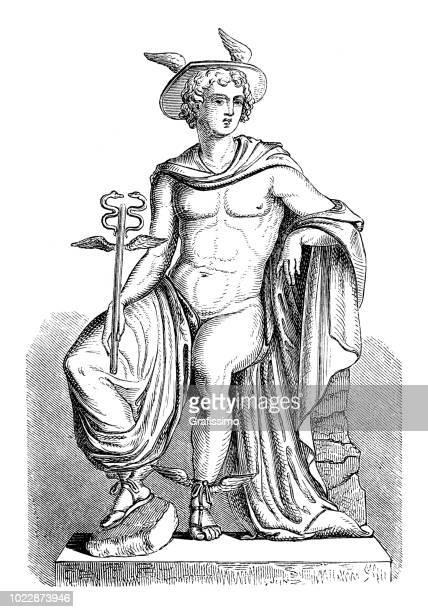 greek goddess hermes roman mercury - roman god stock illustrations