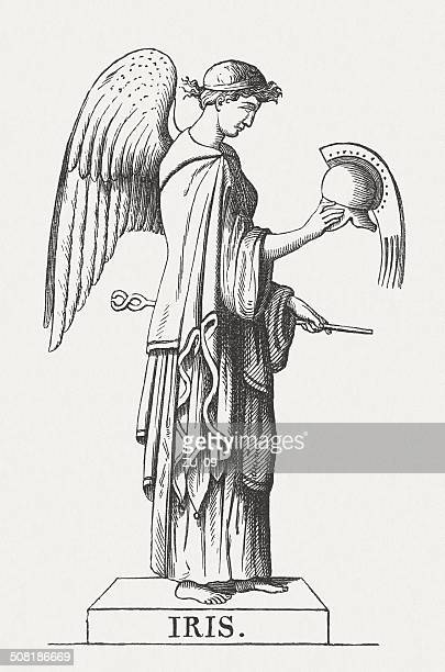 greek goddess iris, wood engraving, published in 1878 - goddess stock illustrations, clip art, cartoons, & icons