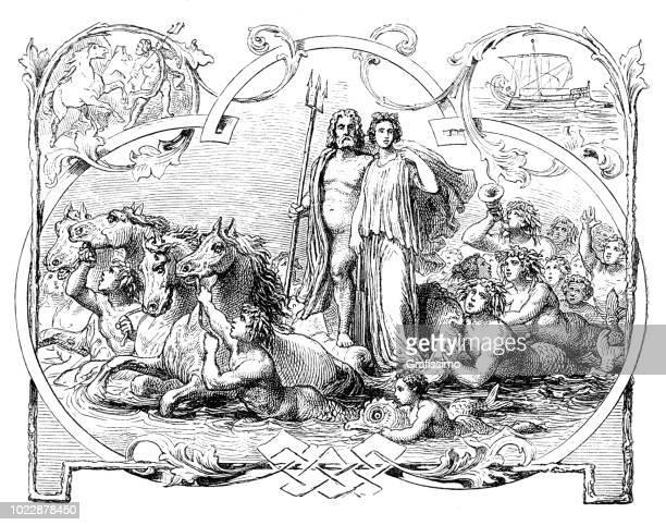 ギリシャの女神は海と妻アンフィトリテのポセイドン神 - ポセイドン点のイラスト素材/クリップアート素材/マンガ素材/アイコン素材
