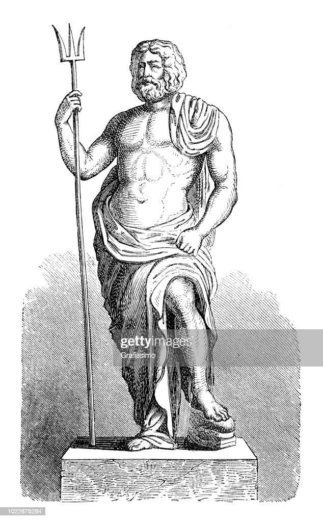 Greek Goddess Poseidon God Of The Sea High Res Vector