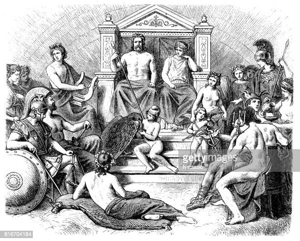 greek gods in the olymp, greek mythology - greek mythology stock illustrations