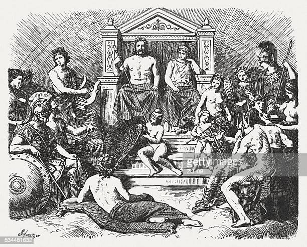 greek gods in the olymp, greek mythology, published in 1880 - classical greek style stock illustrations