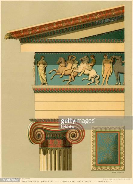 ilustrações, clipart, desenhos animados e ícones de detalhe arquitetônico grego jônico do parthenon - partenão acrópole