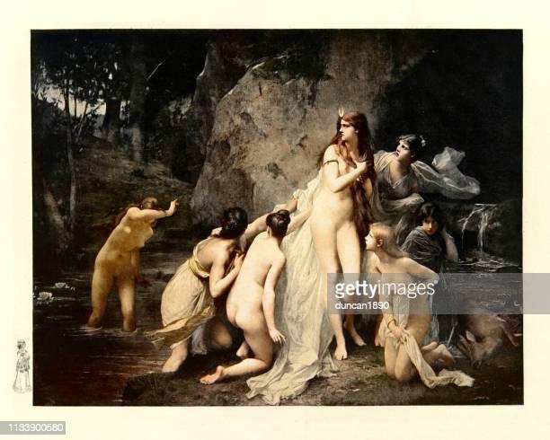 ilustraciones, imágenes clip art, dibujos animados e iconos de stock de mitología griega, diana sorprendido por actaeon - mujer desnuda