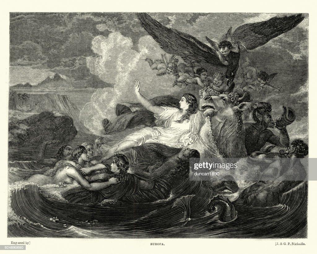 Greek mythology, Europa a Phoenician princess : stock illustration