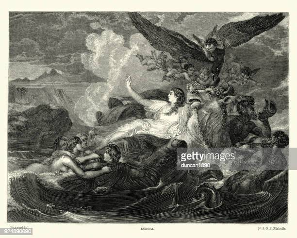 greek mythology, europa a phoenician princess - greek mythology stock illustrations