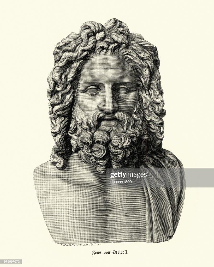 Greek mythology, God Zeus of Otricoli : stock illustration