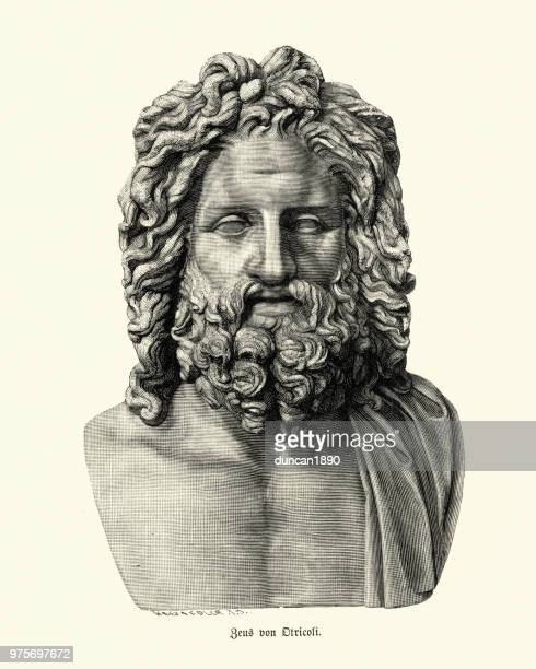 greek mythology, god zeus of otricoli - greek mythology stock illustrations