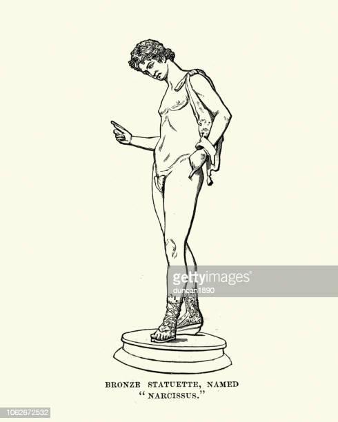 greek mythology, narcissus - narcissus mythological character stock illustrations, clip art, cartoons, & icons