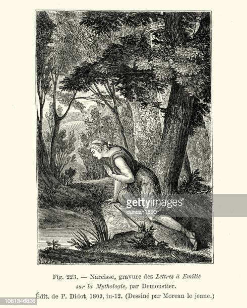 greek mythology, narcissus looking at his reflection - mythological character stock illustrations, clip art, cartoons, & icons