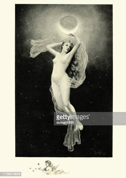 greek mythology, phoebe, titan associated with the moon - ancient greece stock illustrations