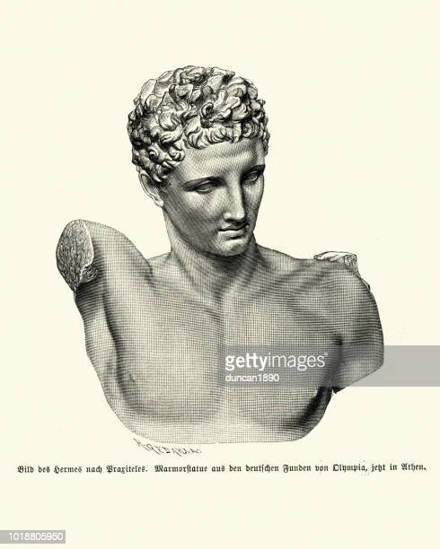 greek mythology, statue of god hermes - greek statue stock illustrations