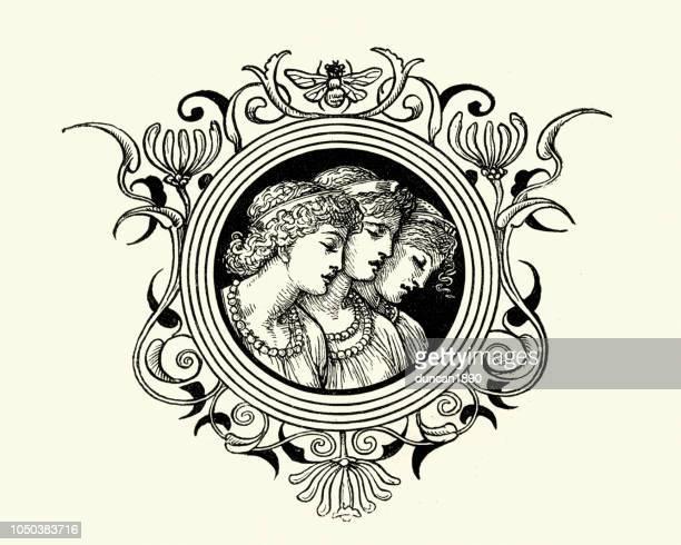 bildbanksillustrationer, clip art samt tecknat material och ikoner med grekisk mytologi, the muses - grekisk gudinna